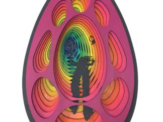 laser cut satoshi rabbit hole bitcoin art 0