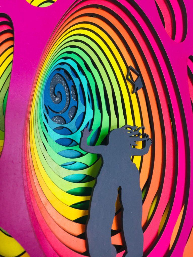 laser cut satoshi rabbit hole bitcoin art 3i