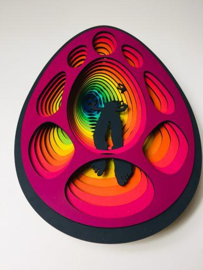 laser cut satoshi rabbit hole bitcoin art 6i