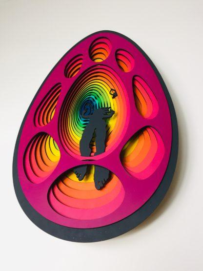 laser cut satoshi rabbit hole bitcoin art 7i