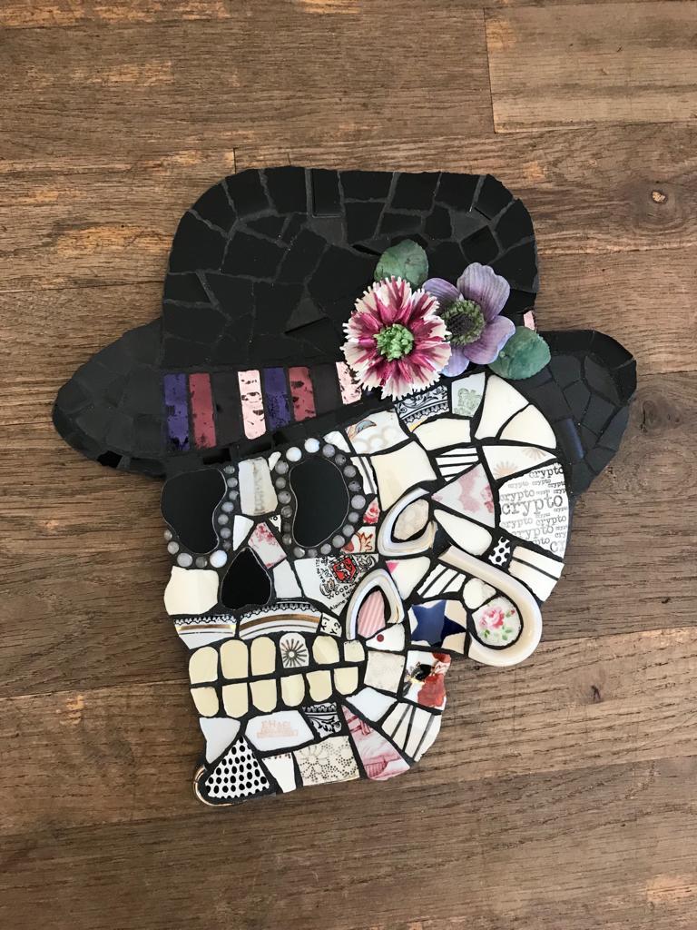 crypto skull mosaic