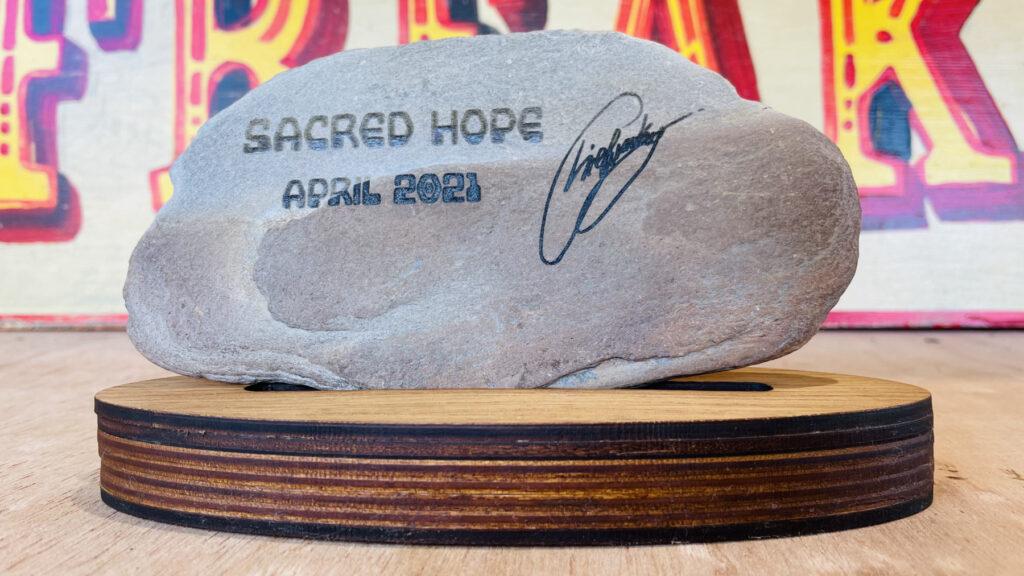 Sacred Hope - laser cut bitcoin art on rocks